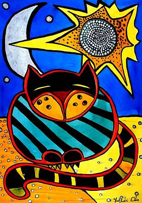 Cat And Moon Painting - Sun And Moon - Honourable Cat - Art By Dora Hathazi Mendes by Dora Hathazi Mendes