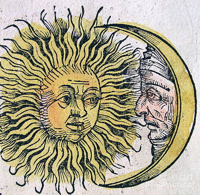 1493 Photograph - Sun And Moon, Nuremberg Chronicle, 1493 by Science Source