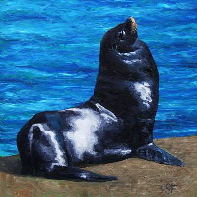 Sun Bathing Sea Lion Original by Crista Forest