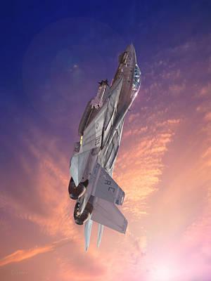 F-14 Digital Art - Sun Burst by Dorian Dogaru