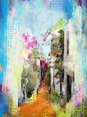 Old Town Digital Art - Sun Drenched Andalusian Beauty In Marbella's Old Town by Carla Parris