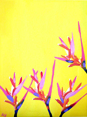 Heliconia Painting - Sun Kissed by Karen Nicholson