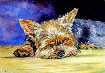 Puppies Painting - Sun Light Snoozer - Yorkshire Terrier by Lyn Cook