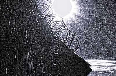 River Photograph - Sun Over Barbed Wire by Bill Cannon