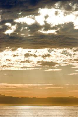 Sun Rays And Clouds Over Santa Cruz Print by Rich Reid