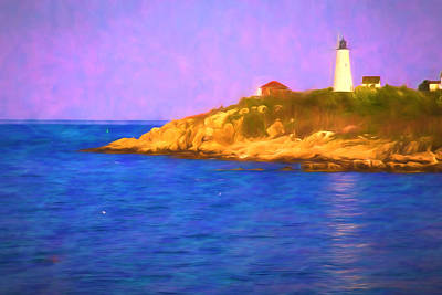 Baker Island Digital Art - Sun Reflecting On Bakers Island Lighthouse by Jeff Folger