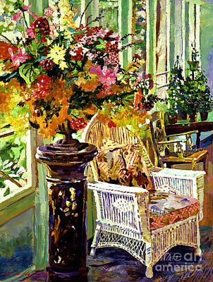 Wicker Chair Painting - Sun Room by David Lloyd Glover