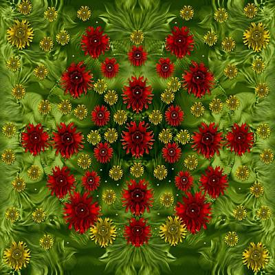 Sun Roses In The Deep Dark Forest With Fantasy And Flair Print by Pepita Selles