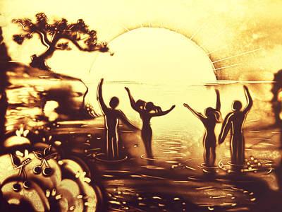 Uplifting Drawing - Sun Salutation by Elena Vedernikova