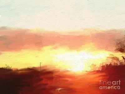 Pallet Knife Digital Art - Sun Set 021516 1a by Henry Mills