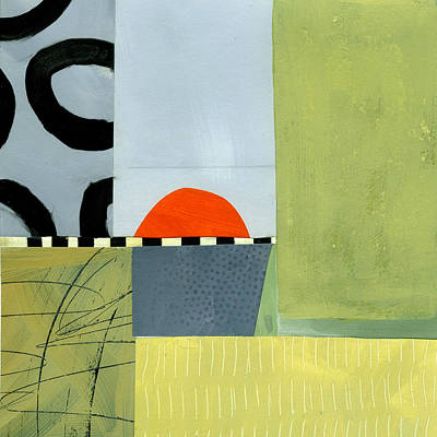 Abstract Collage Painting - Sun Set  by Jane Davies