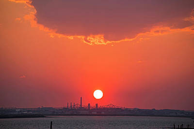Winthrop Photograph - Sun Setting Over The Tobin Bridge From Winthrop Ma by Toby McGuire