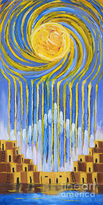 Native American Symbols Painting - Sun Sky Rain by Jerry McElroy