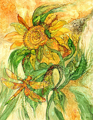 Sun Spirits - Sunflower And Dragonfly Print by Carol Cavalaris