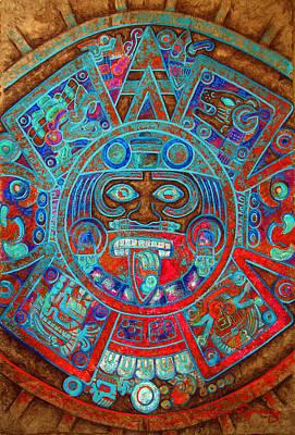 Mayan Painting - Sun Stone by Jose Espinoza