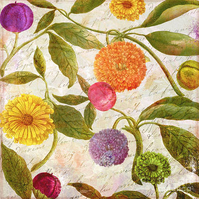 Asters Painting - Sunbathers Botanical I by Mindy Sommers