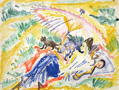 Reclining Drawing - Sunbathing by Ernst Ludwig Kirchner