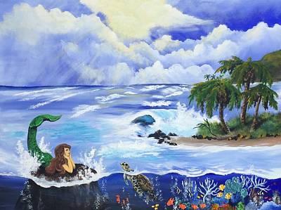 Hawaii Sea Turtle Painting - Sunbathing In Paradise by Tim Loughner