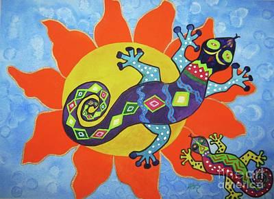 Folk Art Mixed Media - Sunbathing Lizards by Ellen Levinson