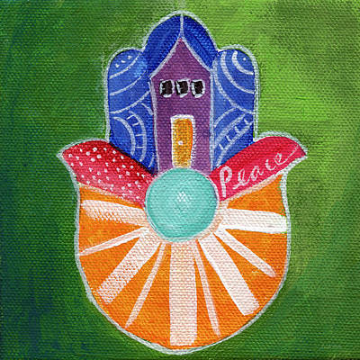 Hand Mixed Media - Sunburst Hamsa by Linda Woods