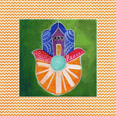 Hand Mixed Media - Sunburst Hamsa With Chevron Border by Linda Woods
