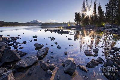 Oregon Photograph - Sunburst Reflection On Elk Lake by Twenty Two North Photography