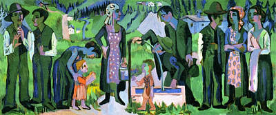 Expressionist Painting - Sunday In The Alps, Scene At The Well by Ernst Ludwig Kirchner
