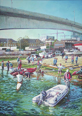 Dingy Painting - Sunday Morning Rowing At Itchen Bridge, Southampton  by Martin Davey
