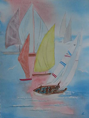 Watercolor Painting - Sunday Sail by Warren Thompson