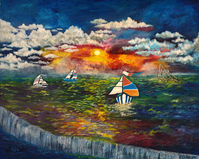 Artwork Painting - Sunday Sails by Vincent Keele