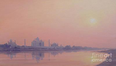 Sundown On The Yamuna Print by Derek Hare