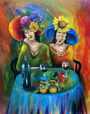 Women With Wine Painting - Sundowners by Marietjie Henning
