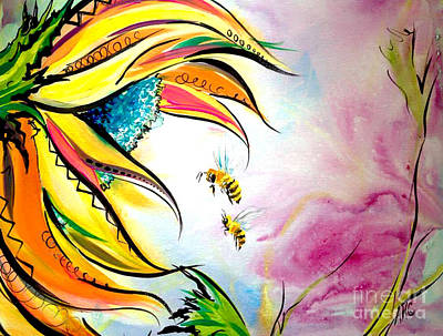 Sunflower And Bees Print by Abbi Cord