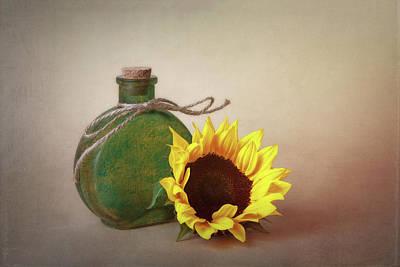 Sunflower And Green Glass Still Life Print by Tom Mc Nemar