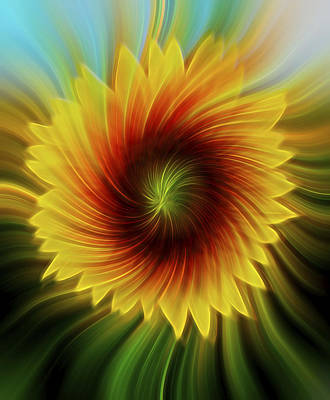 Floral Digital Art Digital Art Digital Art - Sunflower Beams by Terry DeLuco