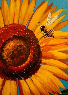 Folk Art Painting - Sunflower Bee by Debbie Criswell