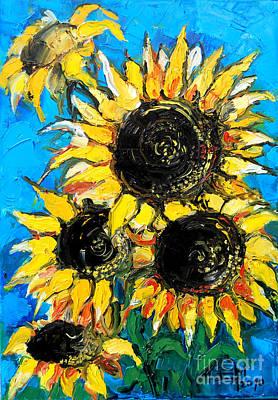 Sunflower Bouquet Print by Mona Edulesco