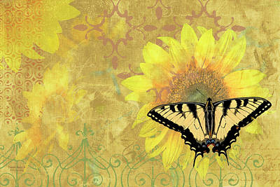 Sunflower Butterfly Yellow Gold Print by JQ Licensing