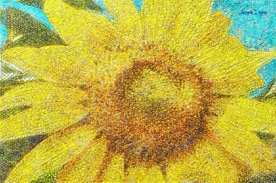 Daisy Digital Art - Sunflower - Da by Leonardo Digenio