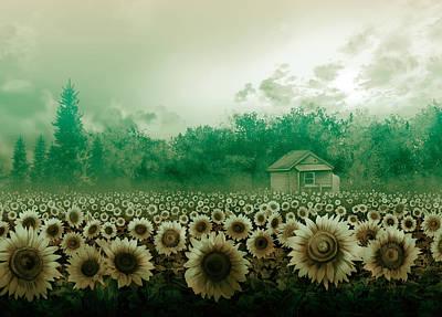 Digital Sunflower Digital Art - Sunflower Field Green by Bekim Art