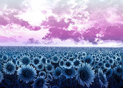 Digital Sunflower Digital Art - Sunflower Fields 3 by Bekim Art