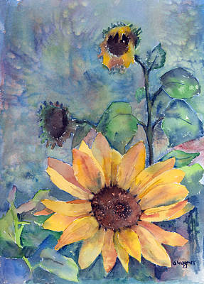 Watercolor Painting - Sunflower In Bloom by Arline Wagner