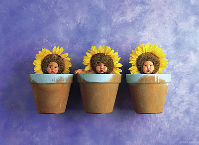 Yellow Photograph - Sunflower Pots by Anne Geddes