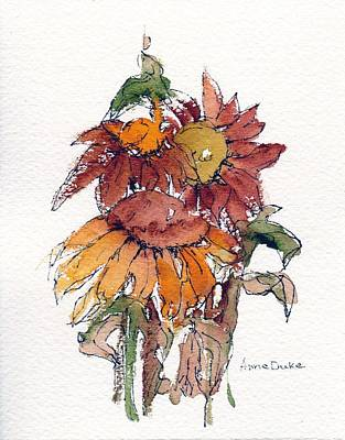 Sunflower Watercolor Painting - Sunflower Trio #2 by Anne Duke