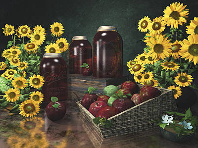 Sunflowers And Apples 2 Print by Mary Almond
