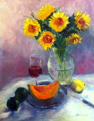 Sunflowers And Cantaloupe Print by Patricia Lyle