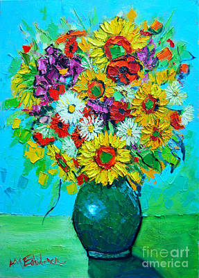 Vivid Colour Painting - Sunflowers And Daises by Ana Maria Edulescu