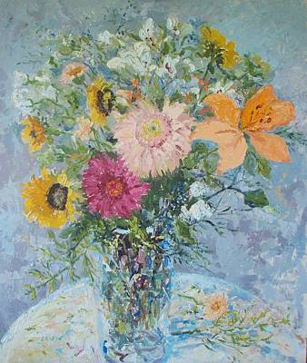 Sunflowers And Gerbera Daisies Print by Elinor Fletcher