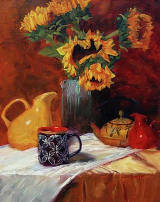 Starbucks Coffee Painting - Sunflowers And Undersea Vase by Jeanne Young