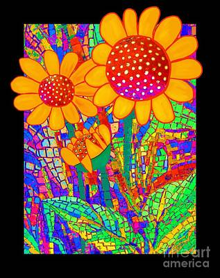 Sunflowers At The Chapel Print by Barbara Drake